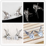 "Earrings - Hot Offer 925 Sterling Silver Jewelry ""Angel Wings Crystal Ear Stud Earrings"