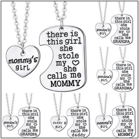 "Family Silver Necklace ""There Is This Girl Who Stole My Heart"""