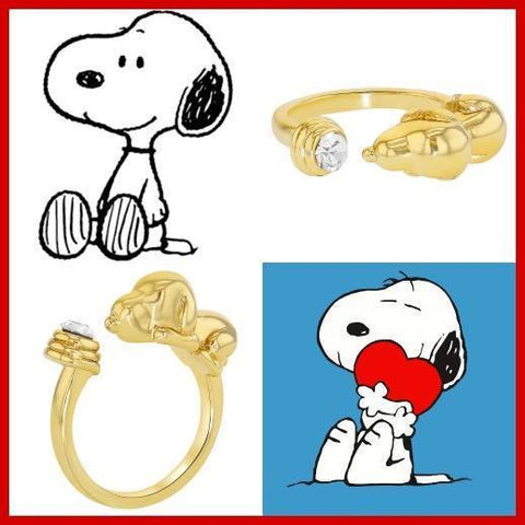 Gold Plated 18k Snoopy Adjustable Gold Ring