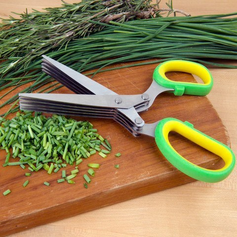 Herb Kitchen Scissors With 5 Blades Dicing Chopping Vegetables