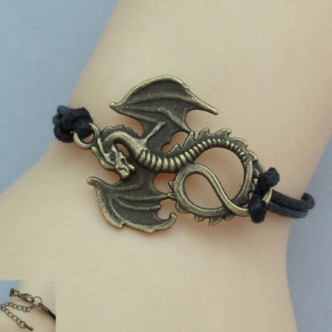Hobbit Dragon Black Charm Bracelet