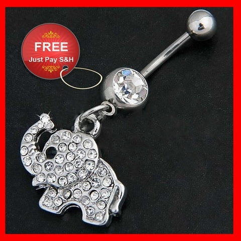 Jewelry - STEEL ELEPHANT DANGLE NAVEL BELLY BUTTON RING BAR RHINESTONE BODY PIERCING