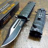 Knife - Tac Force Black Spring Assisted Open Sawback Bowie Tactical Rescue Pocket Knife