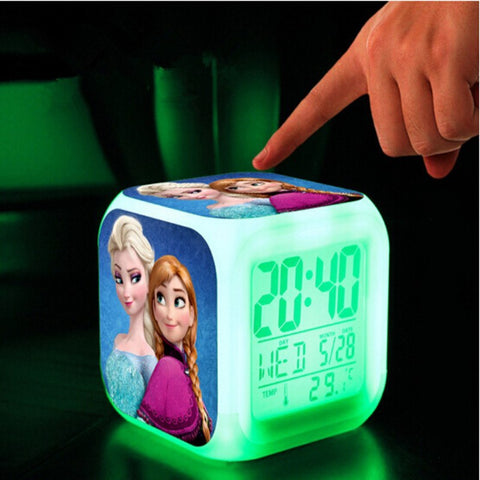 LED Clock - Frozen's Princess Anna And Elsa Color Changing  LED Clock