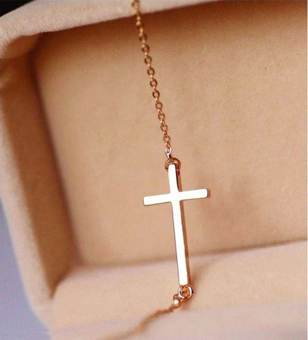 Necklace - 14K Gold Horizontal Cross Necklace