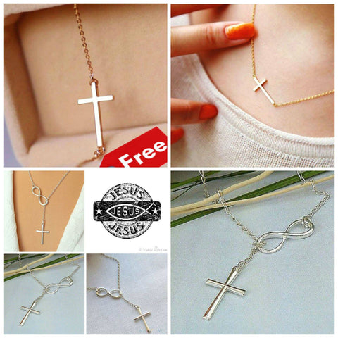 Necklace - 2 Cross Necklaces: Gold & Silver Jesus Is Infinite