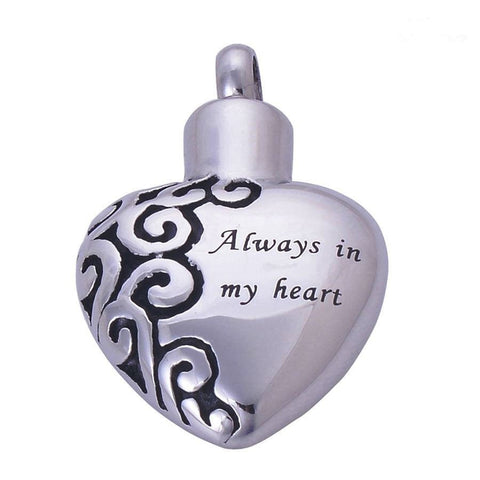 "Necklace - ""Always In My Heart"" Cremation Jewelry Pendant Keepsake Memorial Urn Necklace"