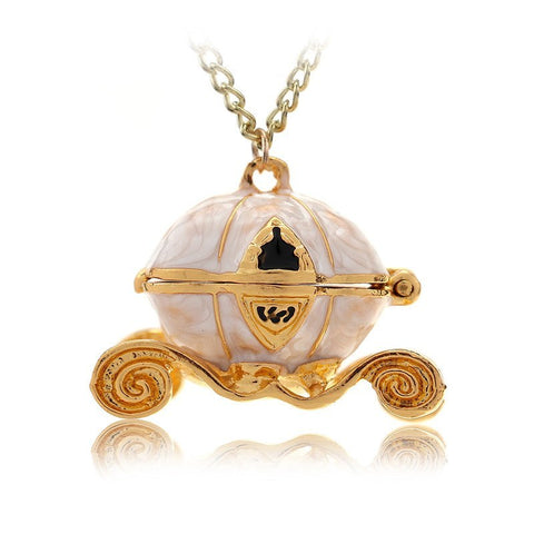 Necklace - Cinderella Combo: Pumpkin Carriage & Blue Crystal Pumps Necklace