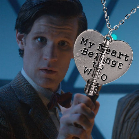 Necklace - Doctor Who Heart Sonic Screwdriver Necklace