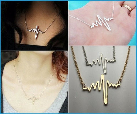 Necklace - ECG Heartbeat Nurse Heart Charm Pendant Necklace