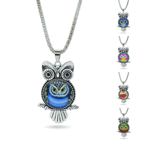 Necklace - Fashion Owl Newest Glass Cabochon Vintage Sterling Silver Pendant Statement Necklace