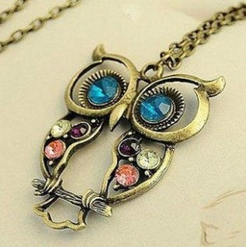 Necklace - Fashion Punk Alloy Owl Coloful Rhinestone Womans Necklace