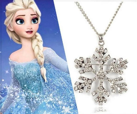 Necklace - Frozen Elsa Rhinestone Snowflake Pendant Necklace