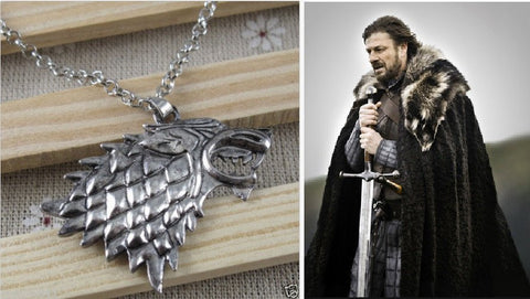 Necklace - Game Of Thrones Stark Direwolf Fashion Vintage Silver Pendant Inspired Necklace
