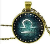 Necklace - Glass Zodiac Constellation Cabochon Pendant Necklace - All 12 Signs - Green