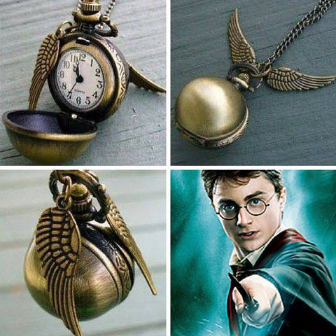 Necklace - Harry Potter Snitch Quartz Digital Watch Pendant Necklace Pocket Watch Chain
