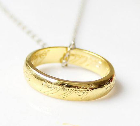 Necklace - Limited Edition Gold Plated Lord Of The Rings Ring Pendant Chain