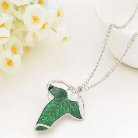 Necklace - Lord Of The Rings Green Leaf Elven Brooch Pendant Necklace