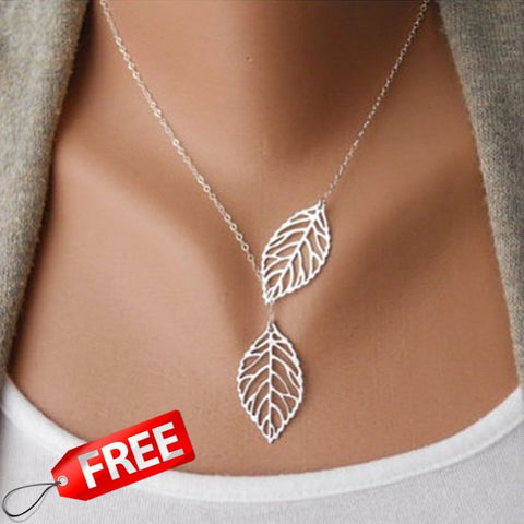 Necklace - New Stunning Celebrity Sideways Vertical Tree Leaf Charm Infinity Pendant Necklace