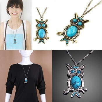 Necklace - New Women Vintage Turquoise Rhinestone OWL Pendant Long Chain Necklace