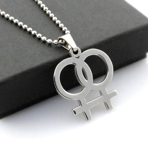 Necklace - Stainless Steel Gay Pride Symbol Double Female LGBT Sign Pendant Necklace