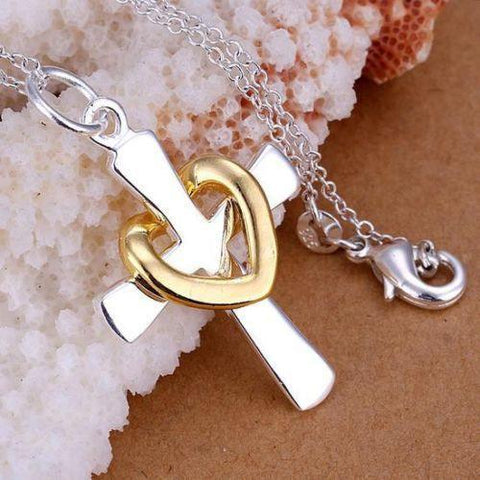 Necklace - Sterling Silver Charm Cross Heart Beautiful Lady Women's Necklace