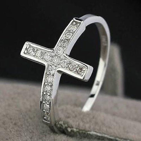 Rings - Christian Cross: Ladies Plated 925 Sterling Cross Rings