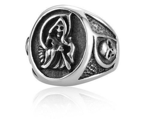 Rings - Grim Reaper Sons Of Anarchy Ring For Men Stainless Steel Man's Biker Punk Ring