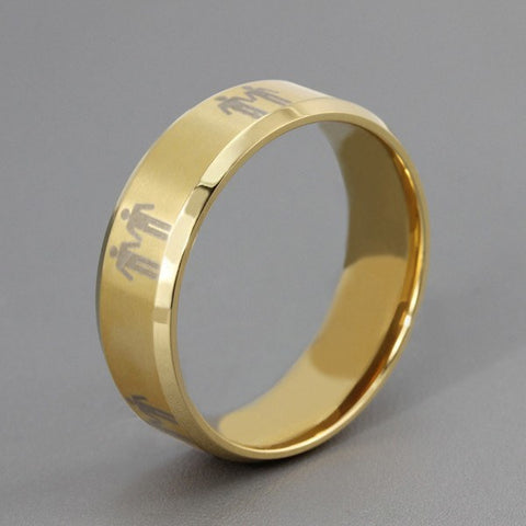 Rings - Titanium Mens Gay Pride Promise Ring Gold Color