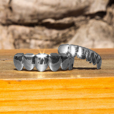 Silver Plated Hip Hop Teeth Grillz Top & Bottom Grill Set