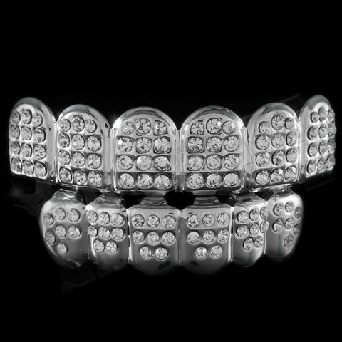 Silver ICED OUT CZ Teeth JOKER Top Bottom GRILL Set Tooth Caps Hip Hop Bling