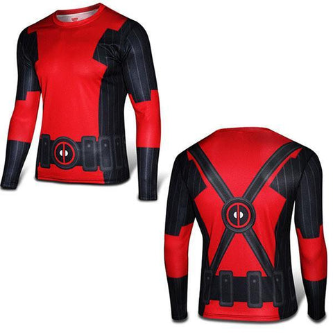 Tops - Super Slim Deadpool Long Sleeve Comic Shirt 3D Breathable Marvel Sports Cold Cycle Riding Superhero Fitness Sport Sweatshirt
