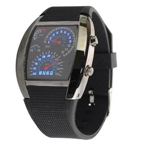 Watch - RPM Turbo Blue Flash Led Sports Car Meter Dial Watch