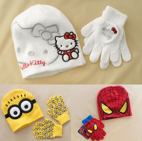 Winter Beanie Gloves Minions Kitty Spiderman