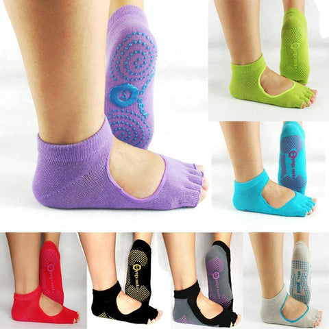 Yoga - 1 Pair Half Toe Ankle Grip Durable Yoga & Pilates Non Slip Cotton Socks