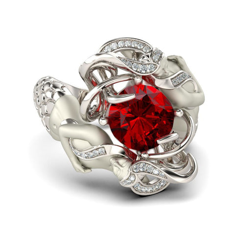 Ruby Cubic Zirconia Silver Plated Mermaid Ring