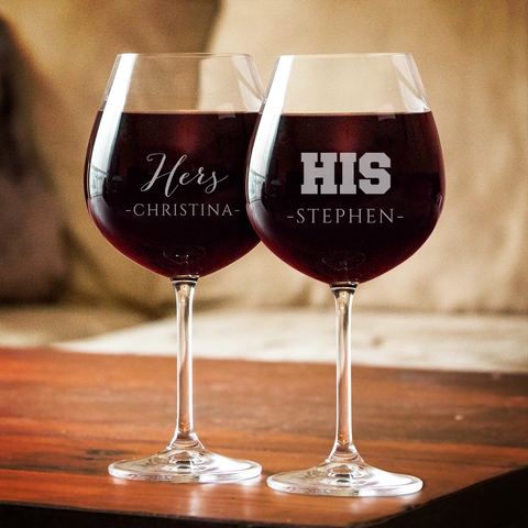 Couples His and Hers Wine Glass