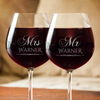 Image of Mr and Mrs Wine Glass