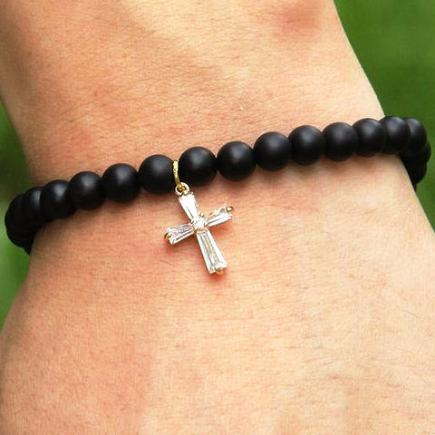 Cross Agate Beads Bracelet