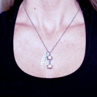 """Strong Is Beautiful"" Dumbbell Necklace"