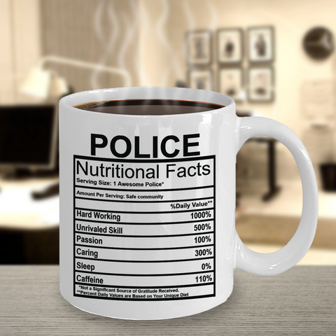 Police Nutritional Facts Mug