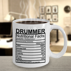 Drummer Nutritional Facts Mug