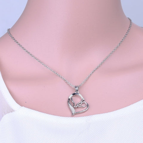 100% Sterling Silver Horse Pendant Necklace