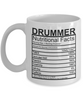 Image of Drummer Nutritional Facts Mug
