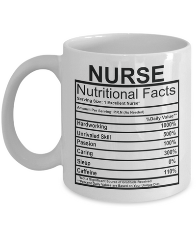 Nurse Nutritional Facts Mug