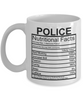 Image of Police Nutritional Facts Mug