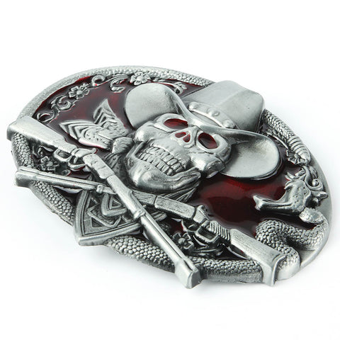 Western Ghost Skeleton Cowboy Skull Belt Buckle