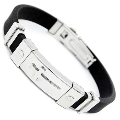 Stainless Steel Cross Silicone Buckle Bracelet