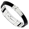 Image of Stainless Steel Cross Silicone Buckle Bracelet