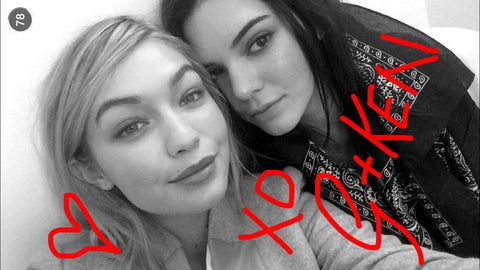 Gigi and Kendall on Snapchat frogcase selfie apps